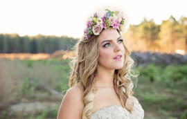 Bridal hair with floral hairpiece